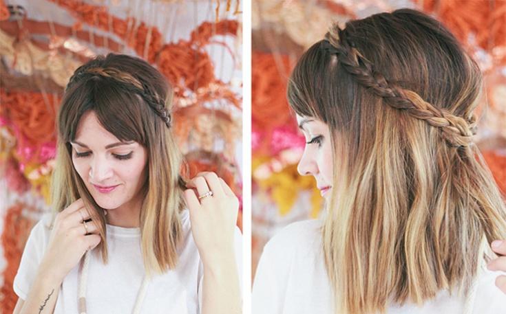 Ободок косичка из своих волос