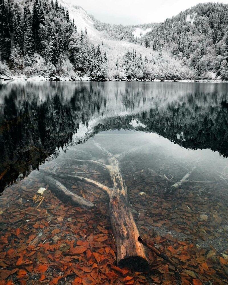 Зимнее озеро Малая Рица, Абхазия позитив, фото, это интересно