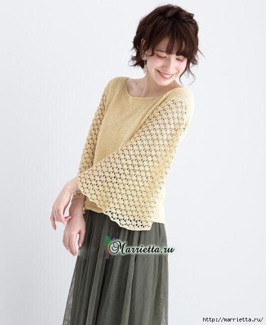 Пуловер с широкими ажурными рукавами (2) (529x646, 133Kb)