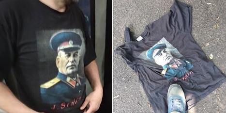 В Киеве раздели мужчину в футболке с портретом Сталина