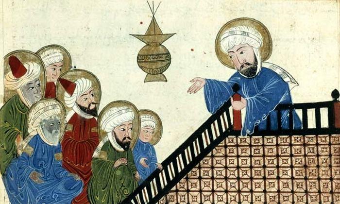 Иллюстрация из «Памятников минувших поколений» Аль-Бируни, изображающая Мухаммеда во время Прощального паломничества.