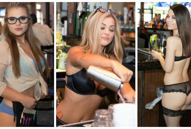 Beauties waitresses from sport bars
