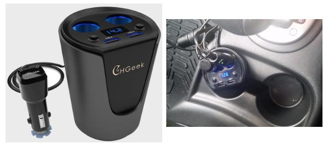 13. Зарядка для USB, вставляющаяся в подстаканник авто, автомобиль, гаджеты, машина