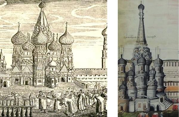 А вот рисунки уже XVII века. Правая гравюра относится к 1612 году, то есть всего спустя полвека после строительства. архитектура, загадки, история, история россии, расследования, тайны