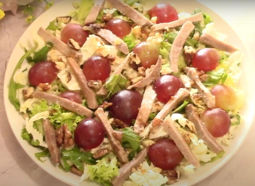 Аппетитный салат с отварным языком
