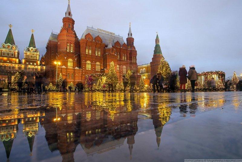 После четырёх часов вечера начинается красивый свет. красиво, красота, москва, новый год, праздник, рождество, столица, фотография