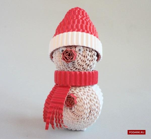 Снеговик изгофрированного картона