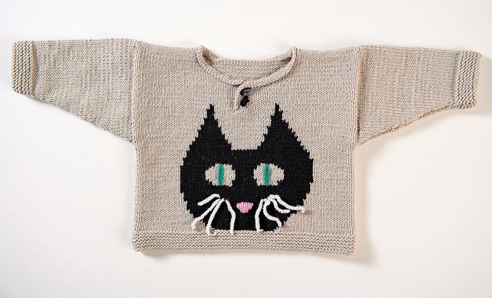 """Детский вязаный пуловер с мотивом """"Котик"""""""