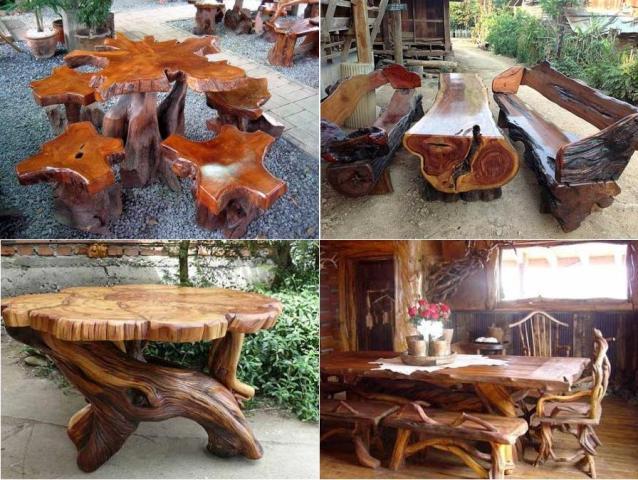 Стол и скамейки из пеньком