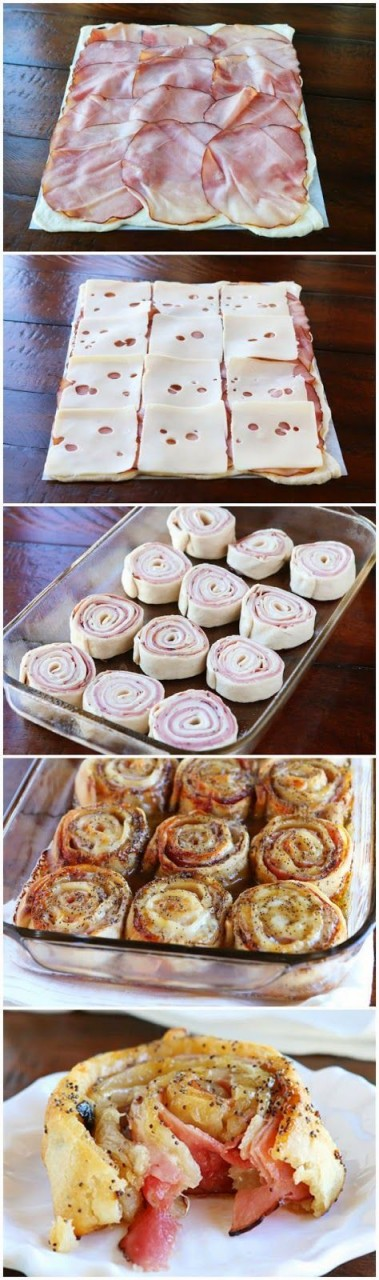Hot Ham & Cheese Party Rolls: