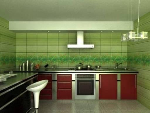 Контрастное сочетание кафеля и кухонной мебели
