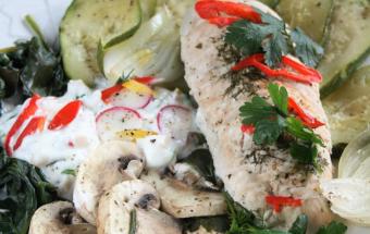 Индейка с овощами на пару