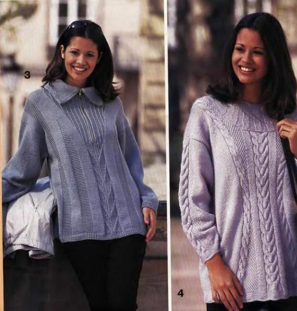 Два интересных пуловера спицами