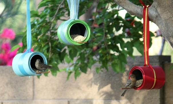 Кормушки для птиц из жестяных банок. дача, идеи для дачи, своими руками