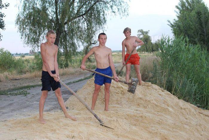 Делаем пляж на речке своими руками пляж, своими руками