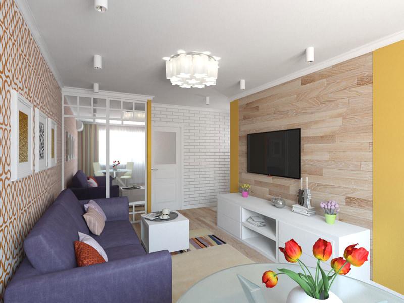 Дизайн-проект двухкомнатной квартиры хрущевки 44 кв. м.