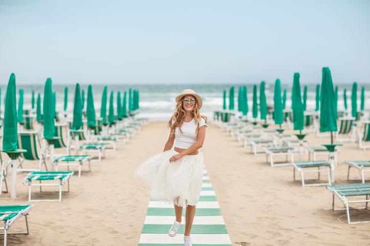 Белая многослойная юбка