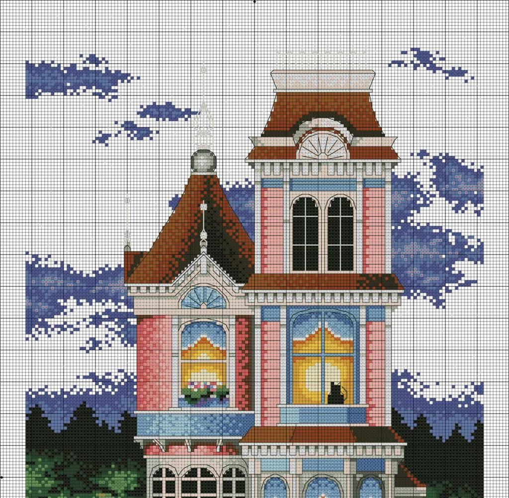 схема вышивки викторианский коттедж