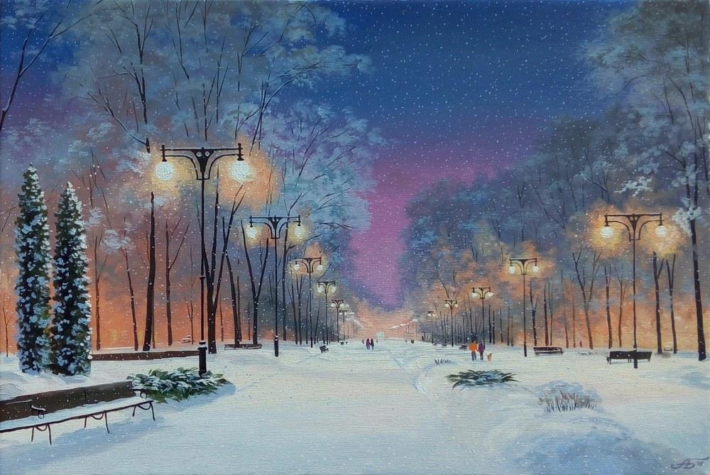 В моем городе снег идет... Художник Александр Болотов