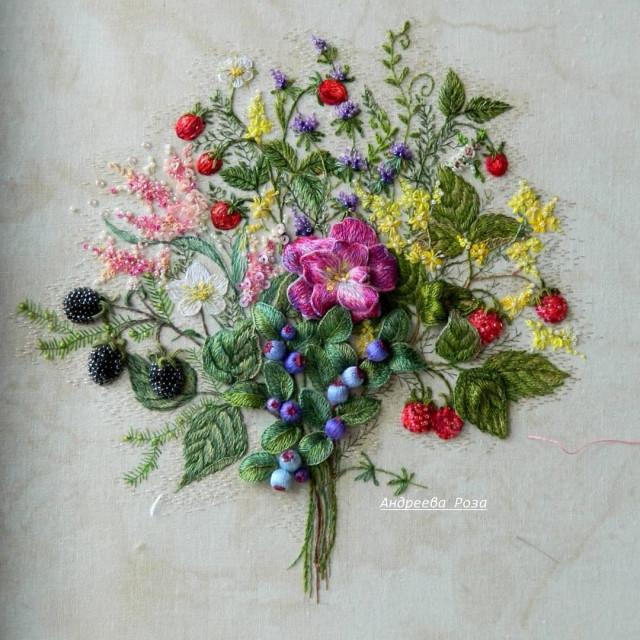 Очаровательная цветочная вышивка Розы Андреевой вышивка,мастрество,творчество