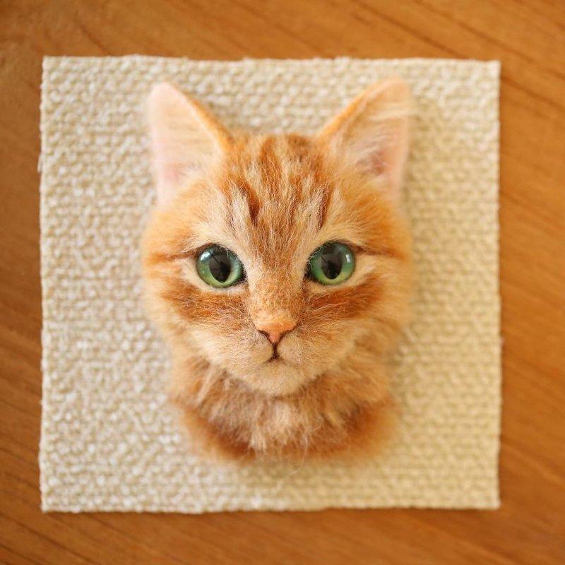 Художник из Японии делает из шерсти гиперреалистичные кошачьи портреты