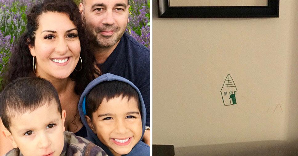 Мама застала 6 летнего сына разрисовывающим стену. Её реакция на поступок ребёнка забавляет и вызывает восхищение!