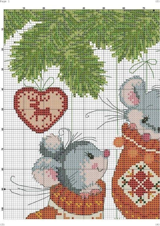 Милые мышата - схемы  вышивки. вышивка,разное