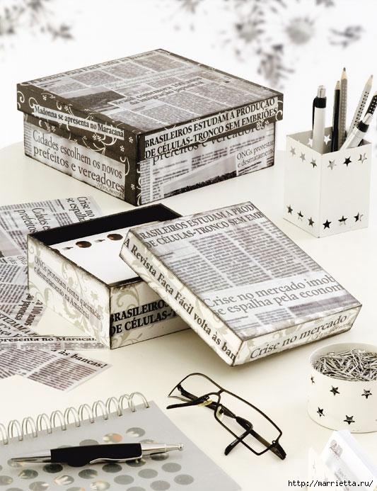 Еще одна идея оформления подарков - декорирование обувных коробок тканью и газетами