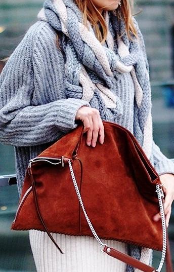 Тренд сезона — уличные образы с объёмными свитерами, накидками и платьями