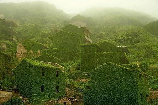 Рыбацкая деревня в Китае, заросшая джунглями интеренсое, планета земля, туризм