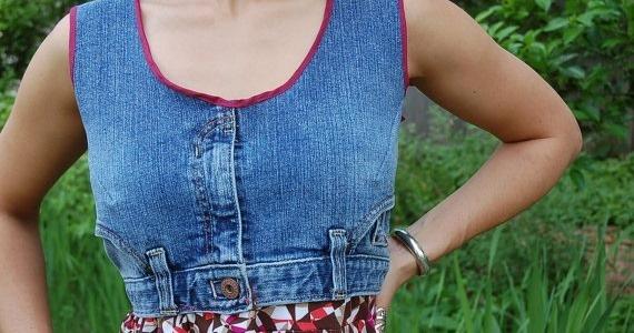 Супер переделка: лиф сарафана из старых джинсов