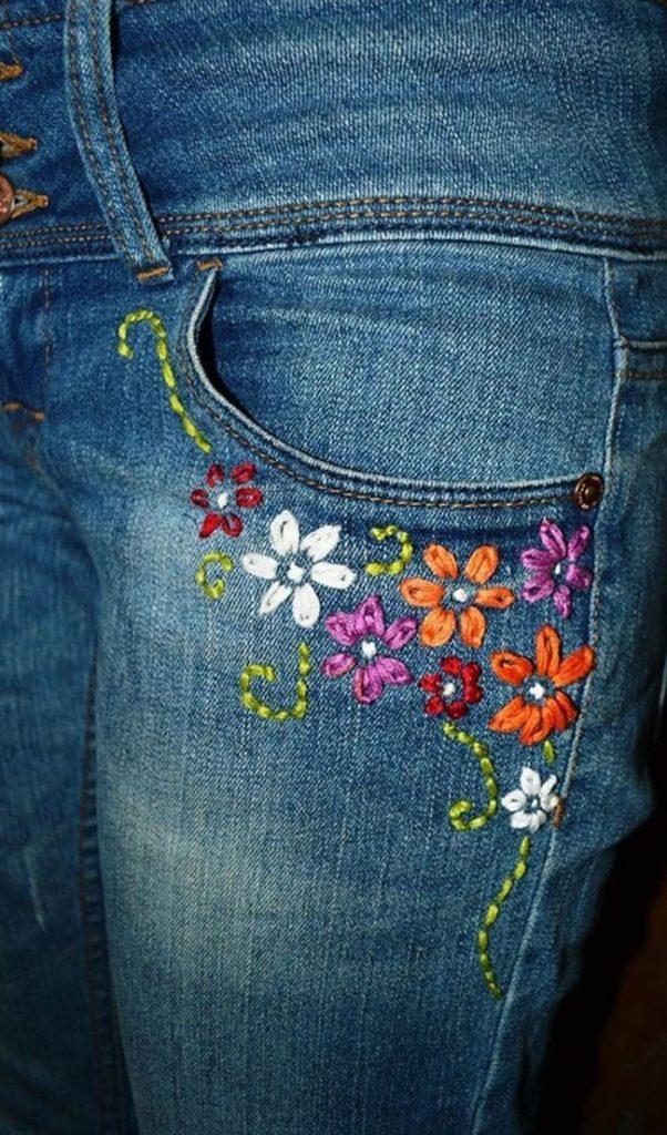 Крутая вышивка по джинсовой ткани одежда,рукоделие,своими руками,сделай сам