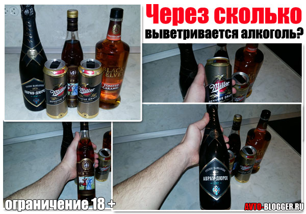 Через сколько выветривается алкоголь (пиво, водка, вино)
