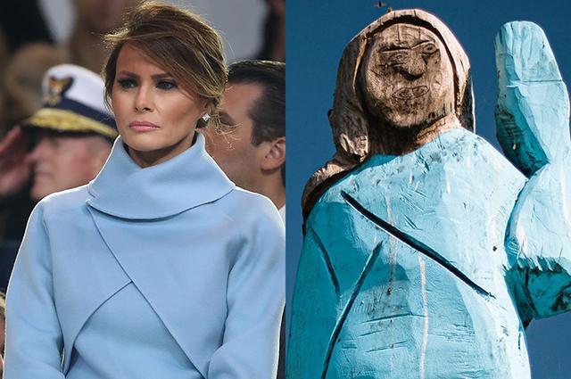 В Словении сожгли статую Мелании Трамп