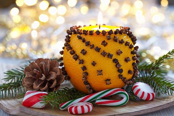 Новогодний подсвечник из апельсина своими руками