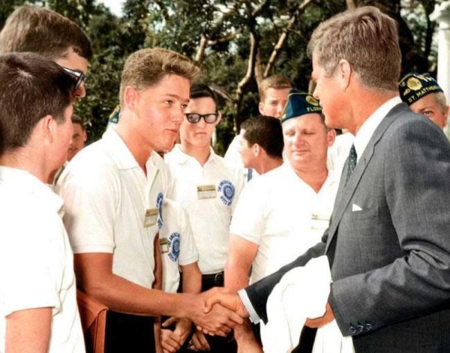 Молодой Билл Клинтон на встрече с Джоном. Ф. Кеннеди