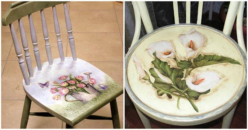 Очень простой и красивый декор стульев в технике декупаж