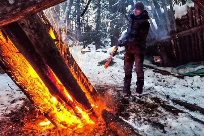 Самоподдерживайщийся лесной костер даже при -30