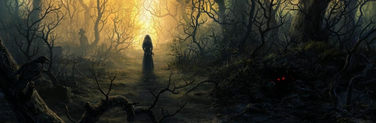 Аллея между кладбищем и лесом