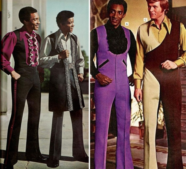 62d2487f Западная мужская одежда 70-х годов была однозначно позаимствована у  инопланетян. По-другому просто невозможно объяснить эти брюки-клеш с  высокой талией, ...