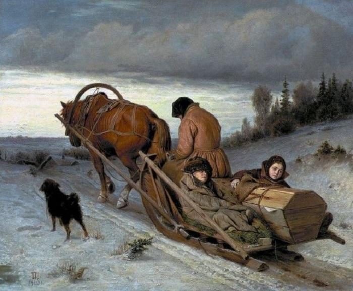 На картине простая русская семья, оставшаяся без своего кормильца.