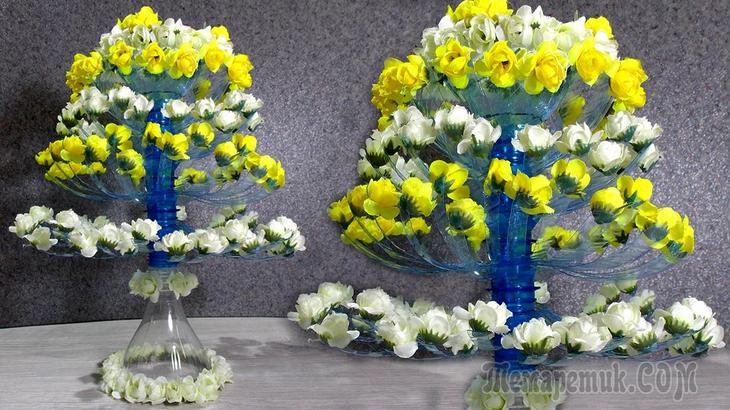 Цветущее дерево из пластиковых бутылок. Поделки из пластиковых бутылок