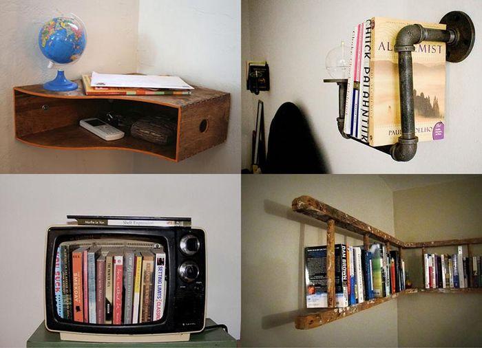 Несколько вариантов полок из привычных предметов.