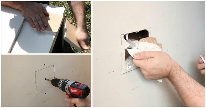 Как заделать дыру в стене из гипсокартона: небольшая хитрость от мастера