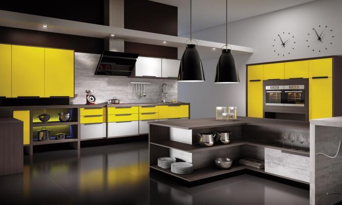 Сдержанные цвета и оттенки в сочетании с ярко-жёлтым придадут кухне особый шарм и изюминку.