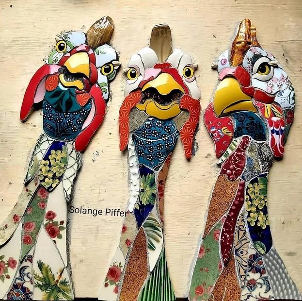 Яркие трёхмерные мозаики от мастерицы из Бразилии вдохновляемся,мозаика