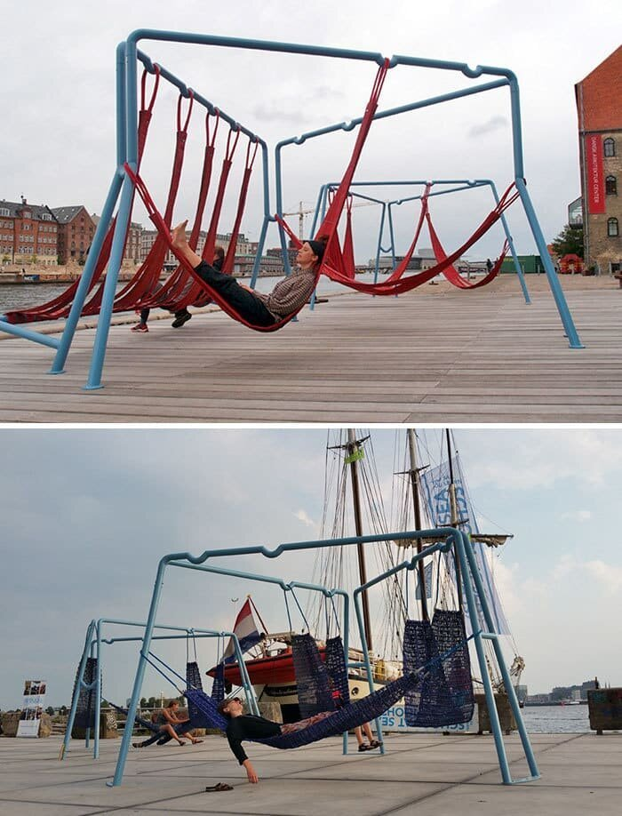 Над землёй, Копенгаген, Дания в мире, в парке, красота, креатив, лавочка, скамейка, удобство, фантазия