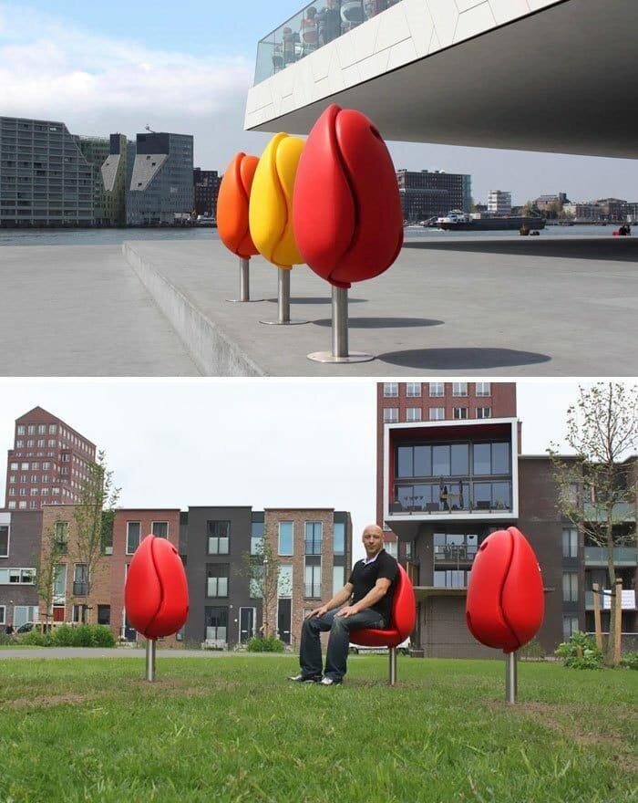 Скамейки в виде тюльпанов в мире, в парке, красота, креатив, лавочка, скамейка, удобство, фантазия