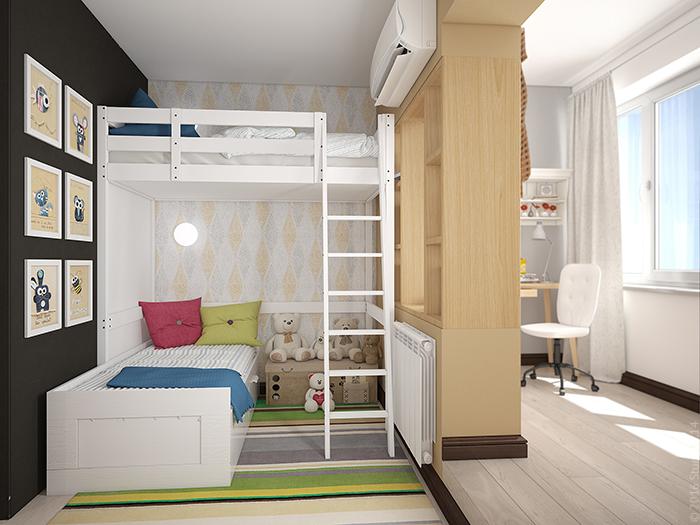 Зонирование однокомнатной квартиры под детский уголок.
