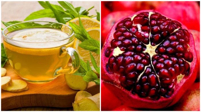 Зелёный чай, лимон, гранат – продукты с мочегонным эффектом.